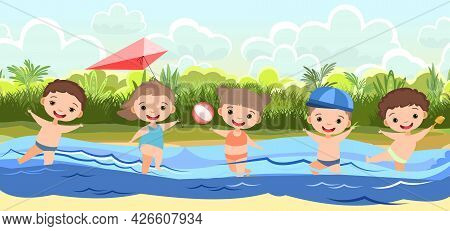Children Fun And Splashing In Water. Waves. Swimming, Diving And Water Sports. Beach Landscape. Illu