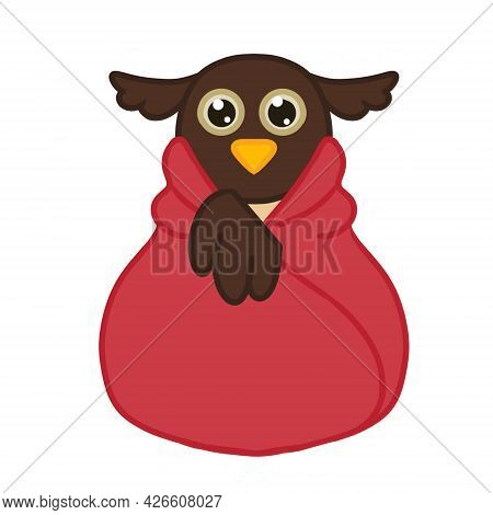 Cute And Funny Owl Wrapped In Blanket. Illustration Isolated On White Background. Vector Image.