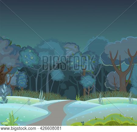 Forest Night Meadow. Dark Trees. Road. Edge With Grass And Hills. Glade And Bushes. Beautiful And Gr