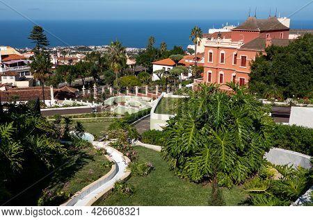La Orotava, Tenerife, Spain-01 January 2020, Beauiful Garden In La Orotava - Jardines Del Marquesado