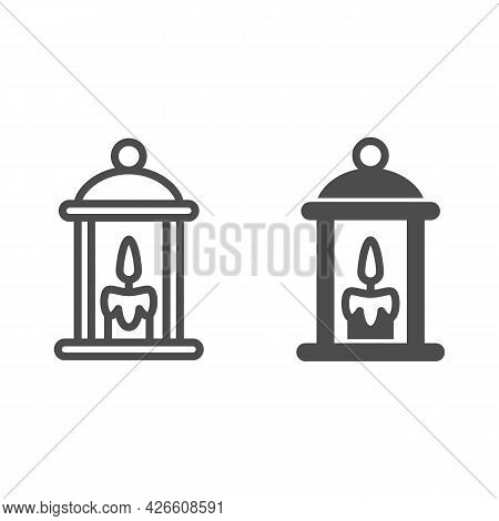 Lamp With Burning Candle Line And Solid Icon, Lamp And Lanterns Concept, Cozy Light Lantern Vector S