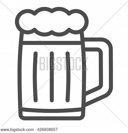 Glass Of Beer Line Icon, Bar And Brewery Concept, Beer Mug Jar Vector Sign On White Background, Outl