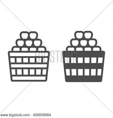 Basket Full Of Apples Line And Solid Icon, Fruit Harvest Concept, Full Box Of Apples Vector Sign On