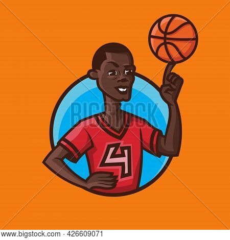 Man Spinning Ball On His Finger. Basketball Concept Art In Cartoon Style.