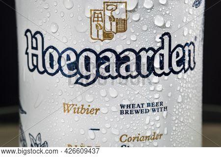 Tyumen, Russia-may 25, 2021: Hoegaarden Is A Belgian Wheat Beer Produced By Inbev