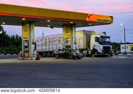 Kursk region, Russia - July, 10, 2021: truck on the petrol station of Rosneft near Kursk, Russia