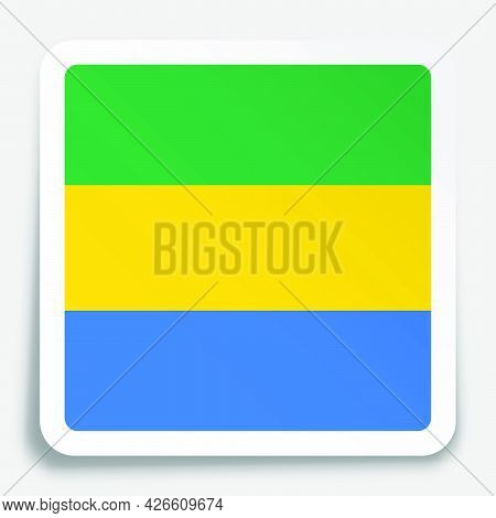 Gabon Flag Icon On Paper Square Sticker With Shadow. Button For Mobile Application Or Web. Vector