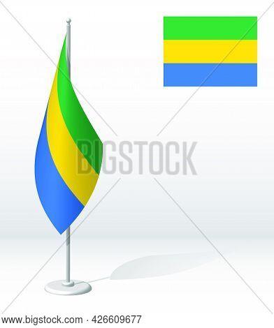 Gabon Flag On Flagpole For Registration Of Solemn Event, Meeting Foreign Guests. National Independen
