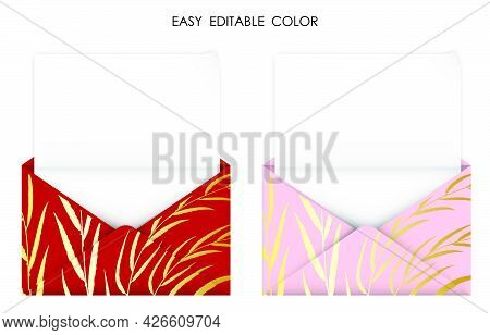 Realistic Open Gold Red Envelope With Blank Sheet Of Paper Inside. Detailed Congratulatory Template.