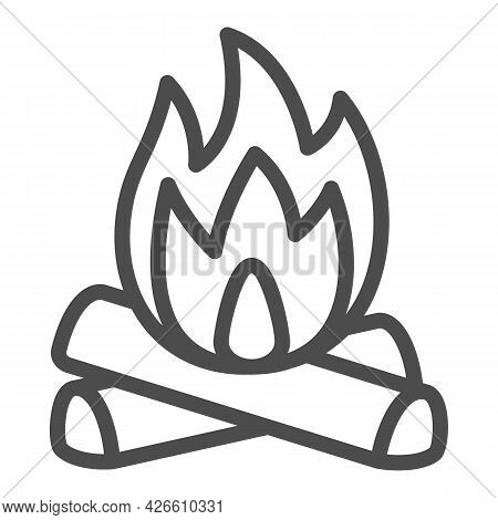 Firewood And Fire Line Icon, Camping Concept, Celebration Bonfire Vector Sign On White Background, O