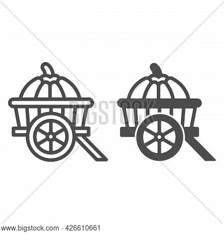 Pumpkin In Cart Line And Solid Icon, Vegetable Crop Concept, Pumpkin In Wagon Vector Sign On White B