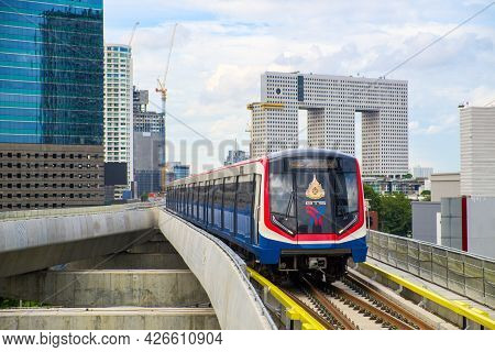 Bangkok-thailand Aug 21 2019: Bts Sky Train On Cityscape Background In Daytime , Sky Train Is A Mass