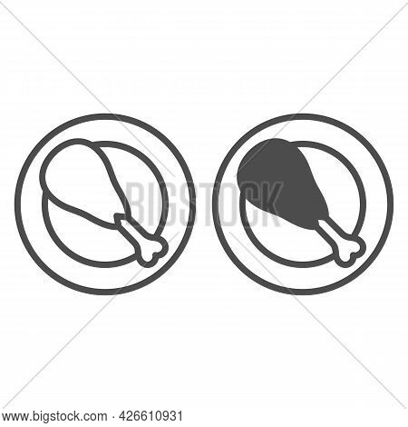 Turkey Leg On Plate Line And Solid Icon, Food Concept, Roasted Turkey Leg On Dish Vector Sign On Whi