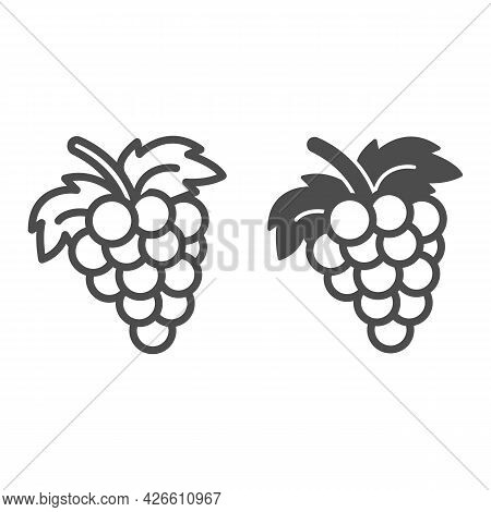 Bunch Of Grapes Line And Solid Icon, Fruits And Berries Concept, Cluster Of Grapes Vector Sign On Wh