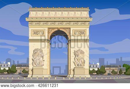 Paris, Arc De Triomphe On The Champs Elysees. Vector.