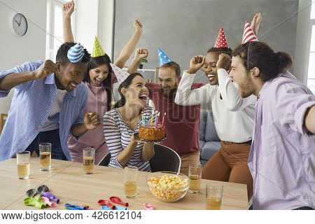 Multinational Friends Are Celebrating A Birthday At A Friends House