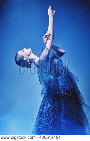 Ballet dancer girl. Beautiful graceful woman poses in a magnificent evening dress. Studio portrait.