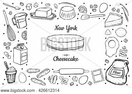 Illustration Rectangular Frame Cheesecake And Ingredients For Cooking Isolated On White Background.