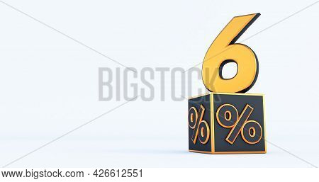 Gold Six 6 Percent Number With Black Cubes  Percentages Isolated On A White Background. 3d Render