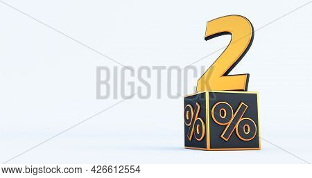 Gold Two 2 Percent Number With Black Cubes  Percentages Isolated On A White Background. 3d Render