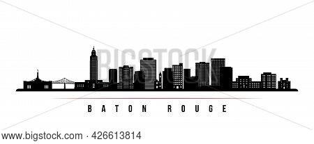 Baton Rouge Skyline Horizontal Banner. Black And White Silhouette Of Baton Rouge, Louisiana. Vector