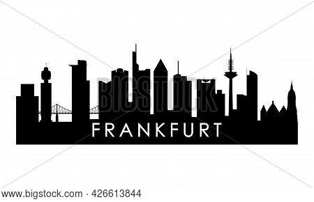 Frankfurt Skyline Silhouette. Black Frankfurt City Design Isolated On White Background.