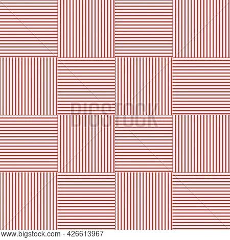 Red Vertical And Horizontal Lines Arranged Alternately.pattern On White Background.vector Illustrati