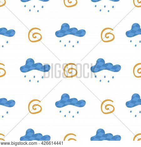 Seamless Pattern With Clouds With Rain And Abstract Shape. On White Background. Vector Colorful Illu