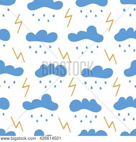 Seamless Pattern With Clouds With Rain And Lightning. Storm. On White Background. Vector Colorful Il