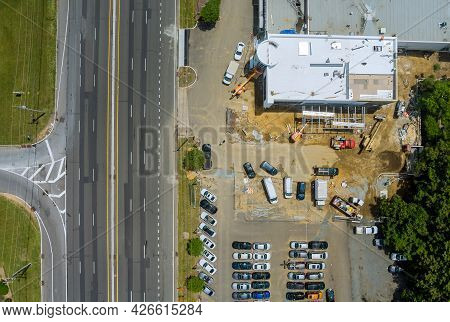 Aerial View Of Under Construction Reconstruction Of The Mall Complex