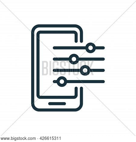 Settings And Options Of Mobile Phone Line Icon. Fix, Maintenance, Smartphone Repair Service Icon. Co