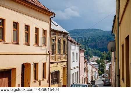 Benesov Nad Ploucnici, North Bohemia, Czech Republic, 26 June 2021: Narrow Picturesque Street With C