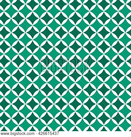 Green Monochromatic Geometric Shapes Seamless Pattern Background.design For Fabric,print,product,til