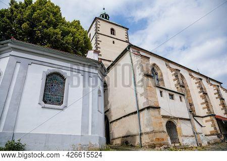 Benesov Nad Ploucnici, North Bohemia, Czech Republic, 26 June 2021:  Old Gothic Church Of The Nativi