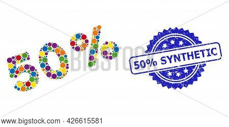 Colorful Collage 50 Percents, And 50 Percents Synthetic Textured Rosette Stamp Seal. Blue Seal Conta