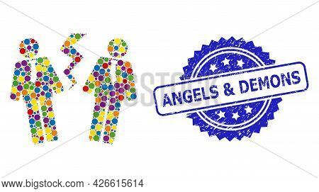 Vibrant Mosaic Businessmen Conflict, And Angels And Demons Textured Rosette Stamp Seal. Blue Stamp S