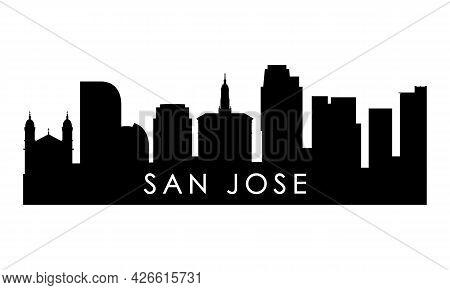 San Jose Skyline Silhouette. Black San Jose City Design Isolated On White Background.