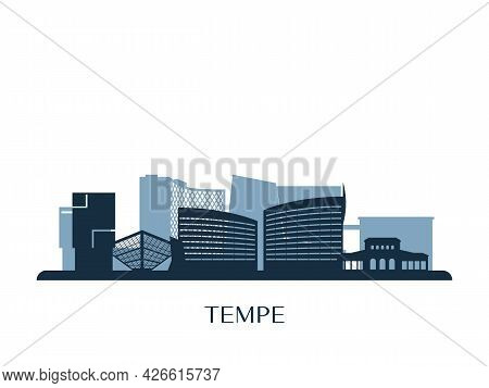 Tempe, Arizona Skyline, Monochrome Silhouette. Vector Illustration.
