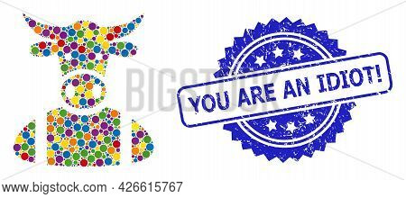 Vibrant Collage Cow Boy, And You Are An Idiot Exclamation Scratched Rosette Seal Imitation. Blue Sea