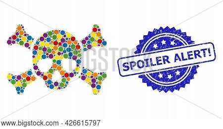 Vibrant Mosaic Death Skull, And Spoiler Alert Exclamation Dirty Rosette Stamp. Blue Stamp Seal Inclu