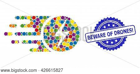 Multicolored Collage Electric Charge, And Beware Of Drones Exclamation Unclean Rosette Stamp Seal. B