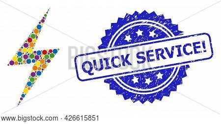 Multicolored Collage Electric Strike, And Quick Service Exclamation Grunge Rosette Stamp. Blue Stamp