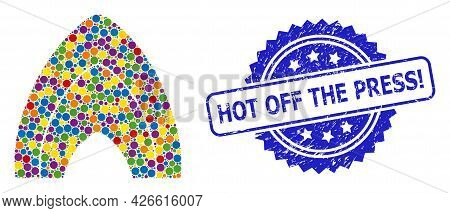 Bright Colored Collage Fire Flame, And Hot Off The Press Exclamation Grunge Rosette Stamp Seal. Blue
