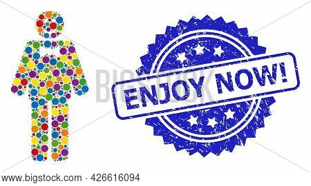 Vibrant Mosaic Happy Mister, And Enjoy Now Exclamation Dirty Rosette Stamp. Blue Stamp Seal Has Enjo