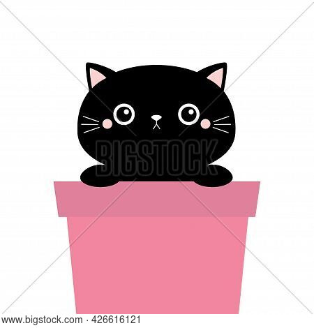 Cat In Flower Pot. Holding Paw Hands. Black Silhouette. Cute Cartoon Funny Character. Moustaches. Ba