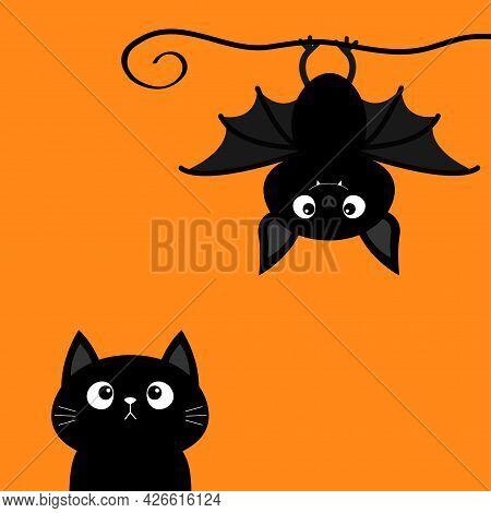 Cute Hanging Bat. Black Cat Kitten Kitty Looking Up. Happy Halloween. Cartoon Kawaii Funny Baby Anim