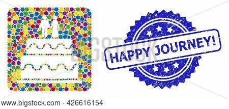 Colorful Mosaic Marriage Cake, And Happy Journey Exclamation Textured Rosette Seal Imitation. Blue S