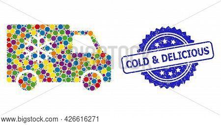 Vibrant Collage Refrigerator Car, And Cold And Delicious Rubber Rosette Stamp Seal. Blue Stamp Seal