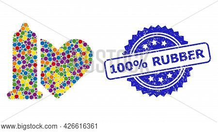 Bright Colored Mosaic Safe Love, And 100 Percents Rubber Grunge Rosette Stamp Seal. Blue Stamp Seal