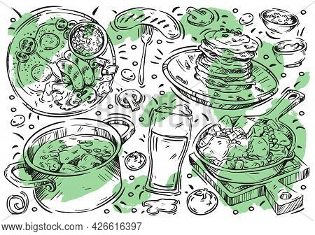 Hand Drawn Line Vector Illustration Food On White Background. Doodle Irish Cuisine: Beer, Pancakes,